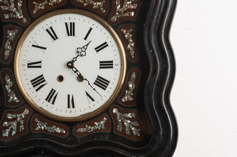 French 19th Century Napoleon III Inlay Wall Clock For Sale 1