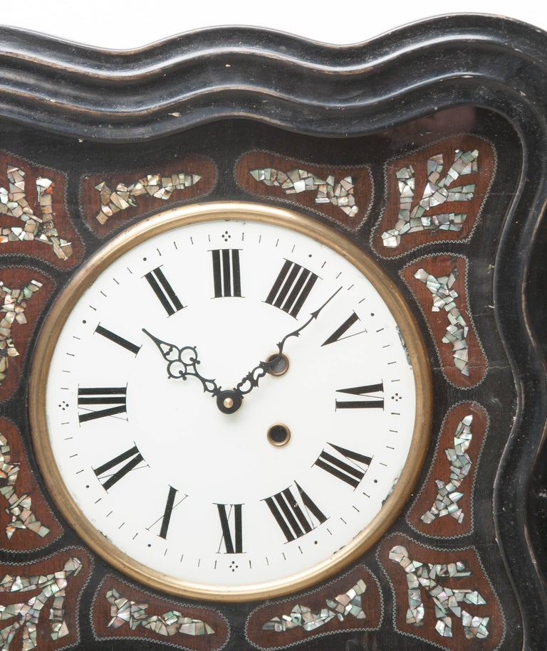Brass French 19th Century Napoleon III Inlay Wall Clock For Sale