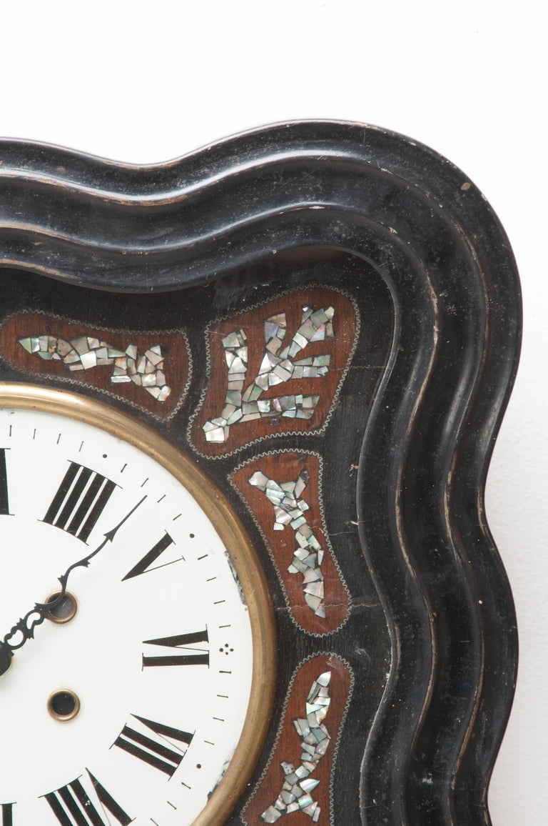French 19th Century Napoleon III Inlay Wall Clock In Good Condition For Sale In Baton Rouge, LA