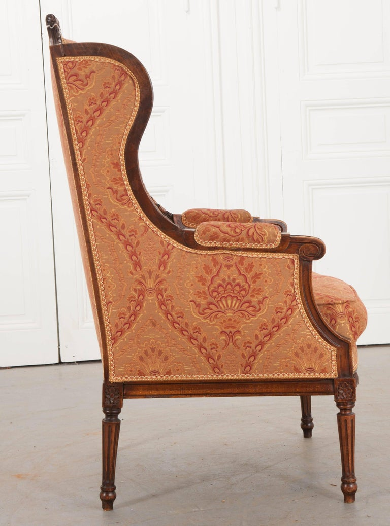 French 19th Century Louis XVI Upholstered Bergère For Sale 3