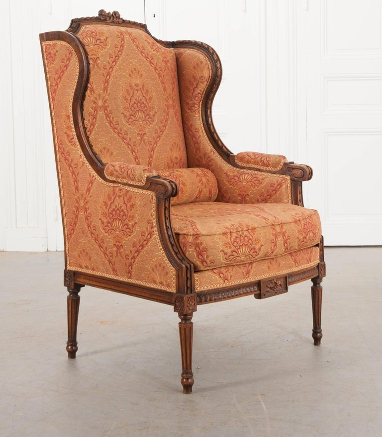 French 19th Century Louis XVI Upholstered Bergère For Sale 1