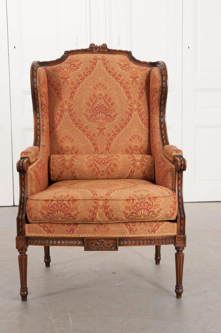 Walnut French 19th Century Louis XVI Upholstered Bergère For Sale
