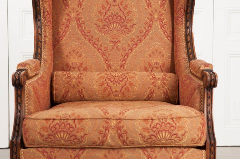 Hand-Carved French 19th Century Louis XVI Upholstered Bergère For Sale