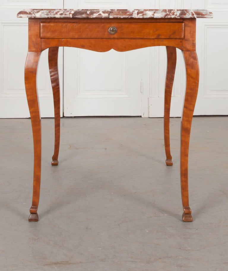 French Early 19th Century Birch Writing Table with Marble Top For Sale 5