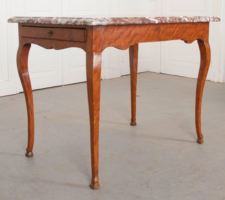 French Early 19th Century Birch Writing Table with Marble Top In Good Condition For Sale In Baton Rouge, LA