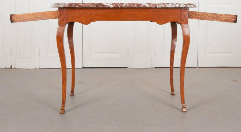 French Early 19th Century Birch Writing Table with Marble Top For Sale 2