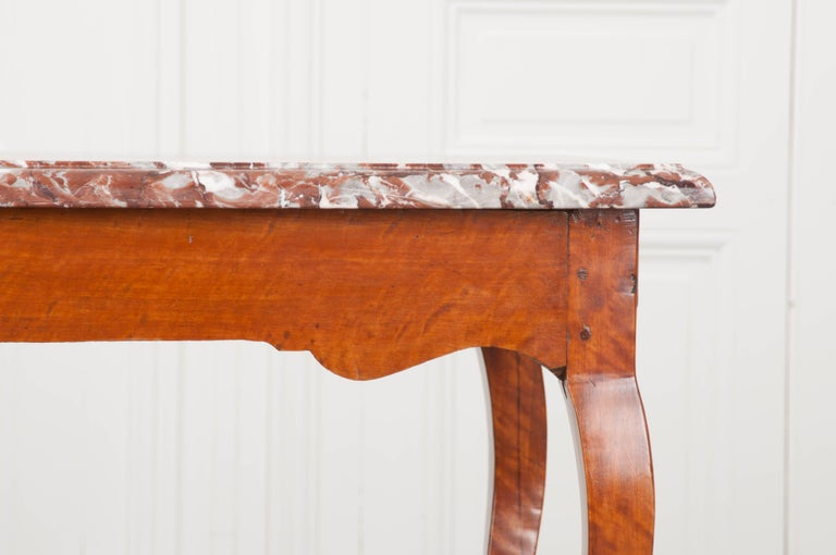 Hand-Carved French Early 19th Century Birch Writing Table with Marble Top For Sale
