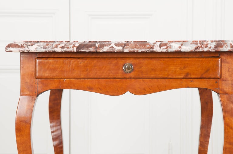 French Early 19th Century Birch Writing Table with Marble Top For Sale 6