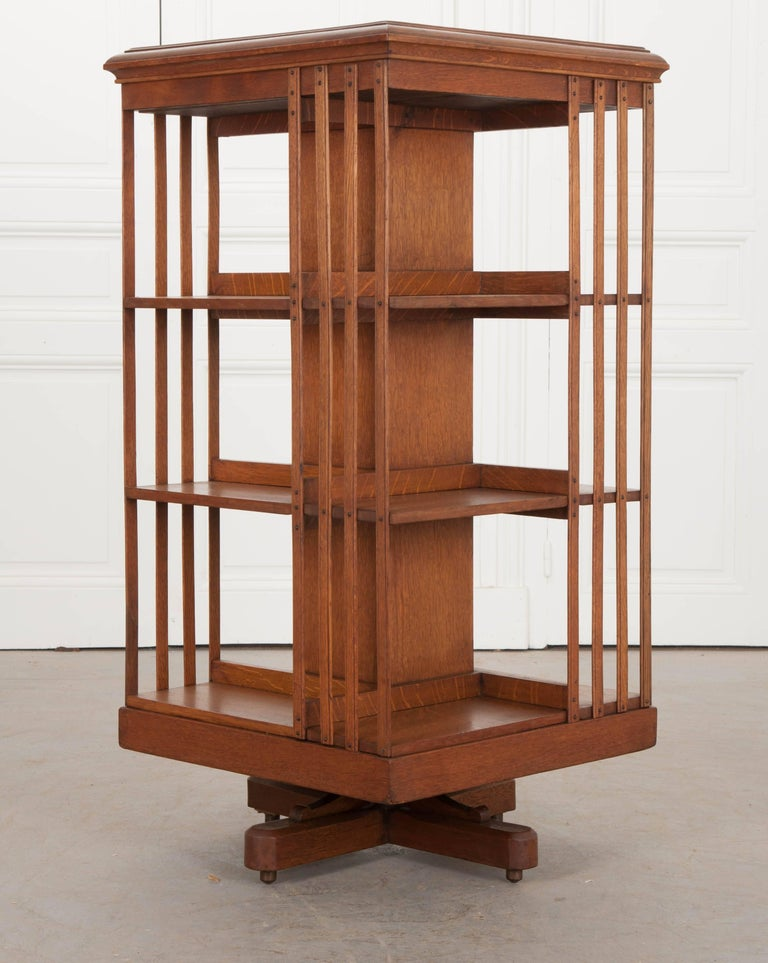 Victorian English 19th Century Oak Revolving Bookcase by S & H Jewell For Sale