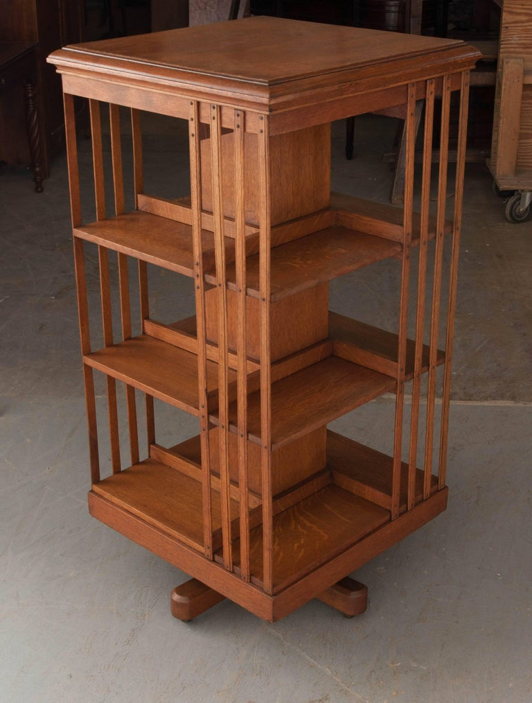 English 19th Century Oak Revolving Bookcase by S & H Jewell For Sale 3