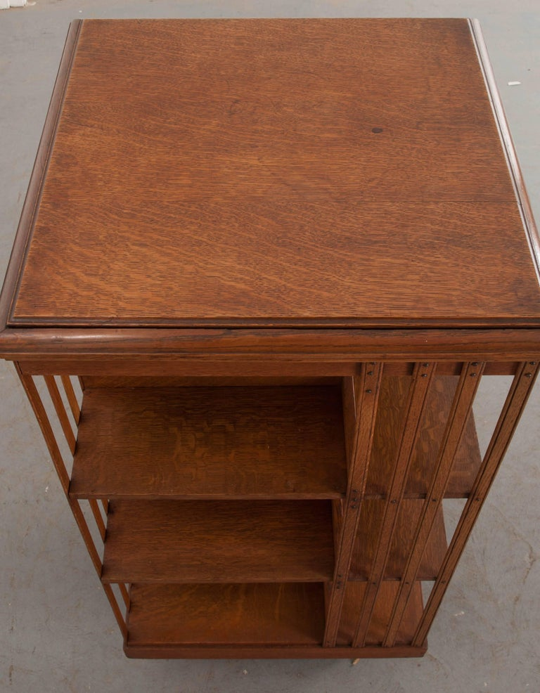 English 19th Century Oak Revolving Bookcase by S & H Jewell For Sale 2