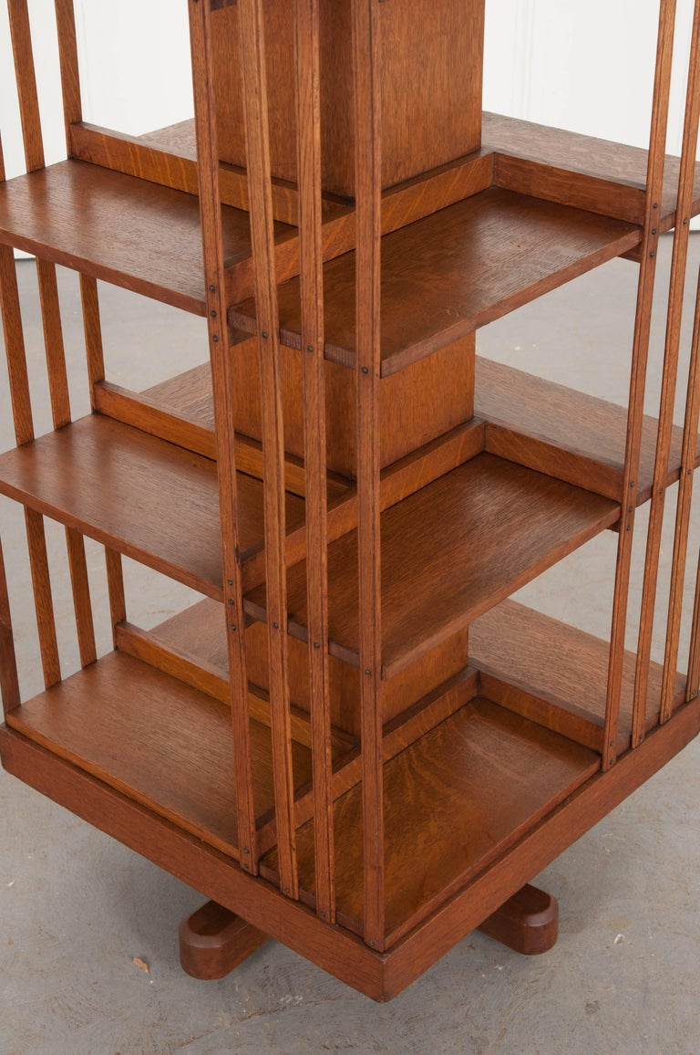 English 19th Century Oak Revolving Bookcase by S & H Jewell In Good Condition For Sale In Baton Rouge, LA