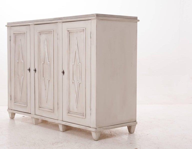 Swedish Gustavian Style Painted Buffet Made at Fireside For Sale 1