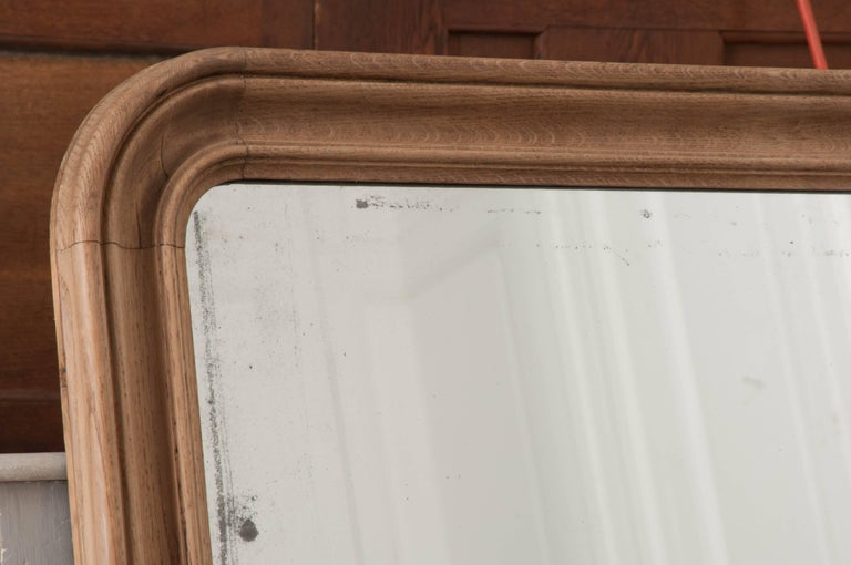 Mercury Glass French 19th Century Bleached Oak Louis Philippe Mirror For Sale