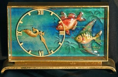 Art Deco Swiss Clock with Aquatic Motif, Enameled Face by Imhof