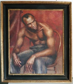 """""""Seated Black Man,"""" Rare and Fine WPA-Style Painting attributed to Walker Evans"""