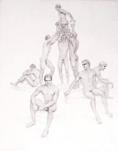 """""""Pyramid,"""" Extremely Rare Drawing with Nine Male Nudes by John Lear"""