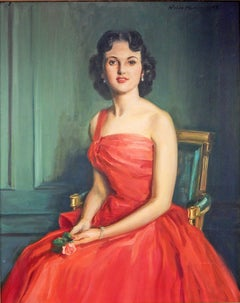 """""""Woman in Red,"""" Brilliant, Large Mid-Century Female Portrait in Candy Apple Red"""