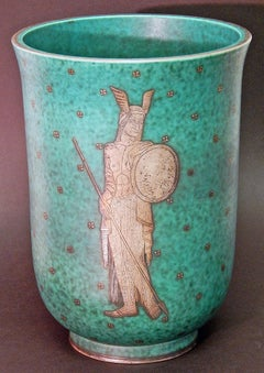 """Viking Princess,"" Large and Exceptional Art Deco Vase by Kåge for Gustavsberg"