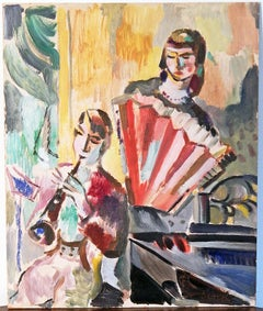 """""""Chamber Music,"""" Brilliantly-Hued Cubist Painting with Clarinet and Accordion"""