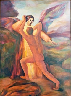 """Jacob Wrestling with the Angel,"" Large Mid-Century Painting in Rust & Blue"