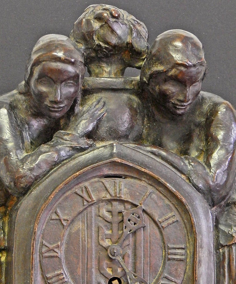 Extremely rare if not unique, this extraordinary timepiece may be the only sculpture-cum-clock ever cast by the Roman Bronze Works, America's premier bronze foundry in the early 20th century. The sculpture features two female figures with long,