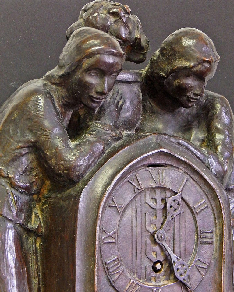 Arts and Crafts Arts & Crafts/Secessionist Clock with Female Figures by Roman Bronze Works For Sale