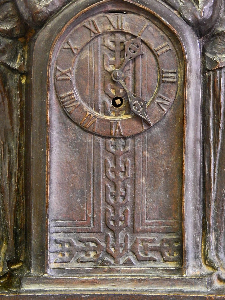 American Arts & Crafts/Secessionist Clock with Female Figures by Roman Bronze Works For Sale