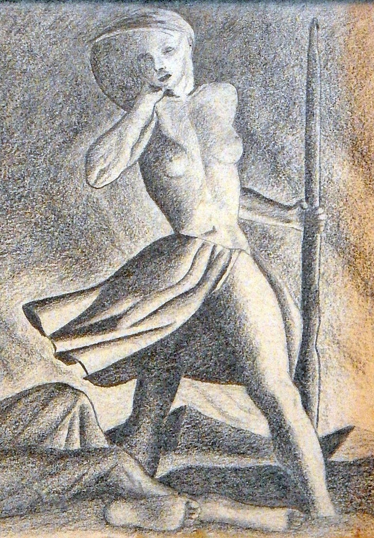 American nude shepherdess art deco drawing in style of rockwell kent sculpted