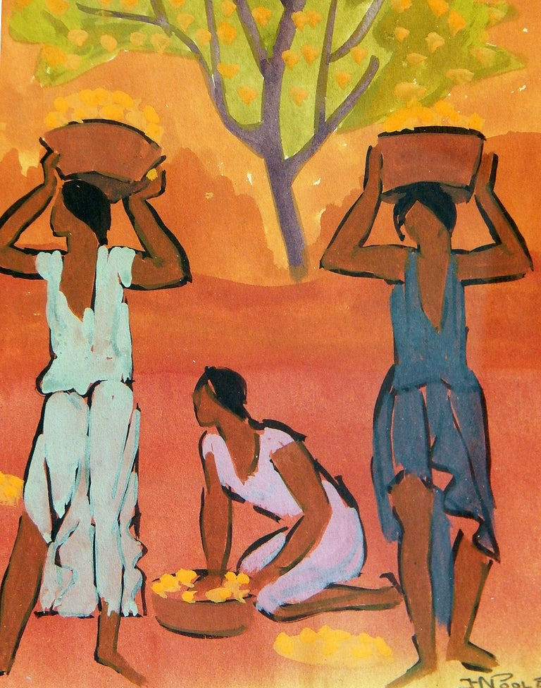 Painted by Horatio Nelson Poole, famed for his scenes of Hawaii and California, this brilliantly-hued gouache shows a group of women picking fruit, likely oranges or lemons, their baskets laden from their labors. Poole uses a saturated palette of