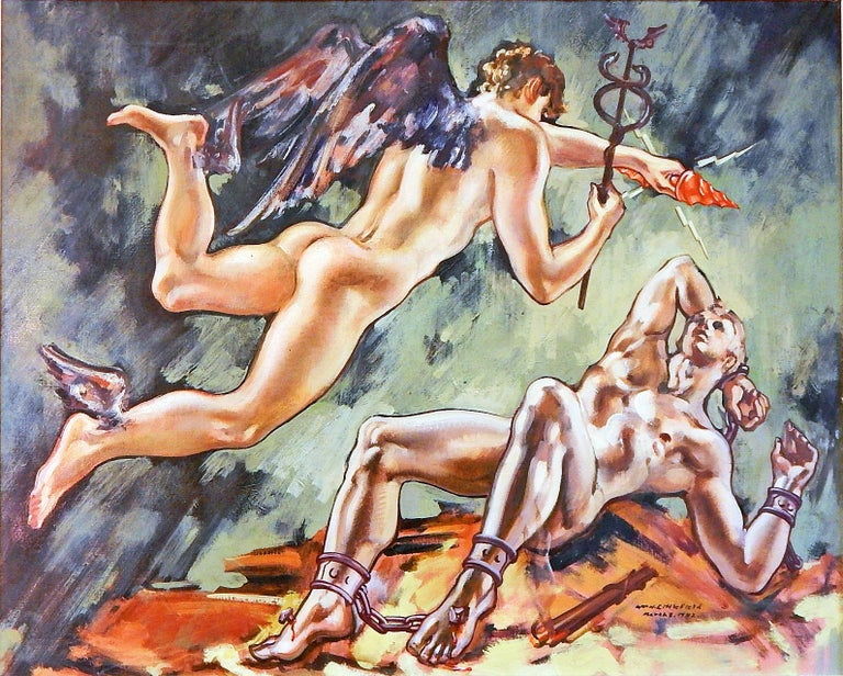 In the 1920s, 1930s and 1940s, William Littlefield painted a series of mythological subjects, often featuring idealized male nude figures, and this is the largest and best example we have seen. Here Mercury is flying through the air toward the
