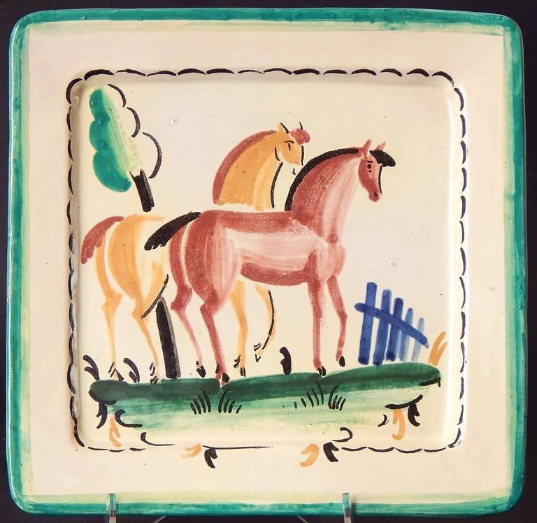 Glazed Art Deco Decorated Plates with Horses, Italian, Late 1920s For Sale