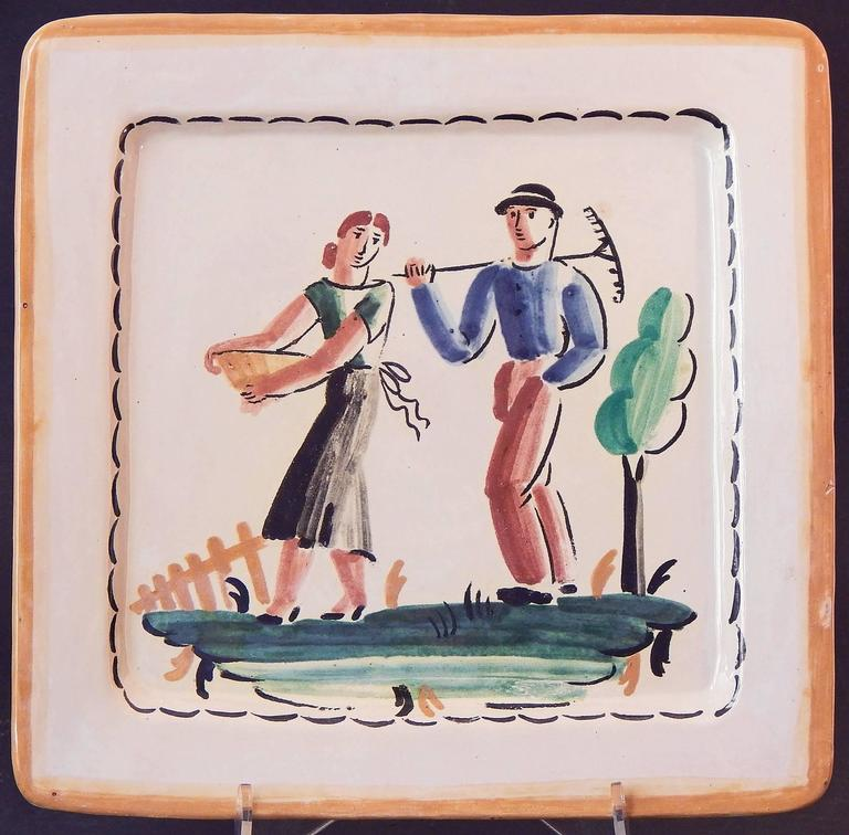 Painted with freshness and sophistication, this pair of Italian Art Deco plates depict a pair of farm workers and a female horseback rider, all in stylized form characteristic of the late 1920s. The palette ocean blue, oxblood and forest green is