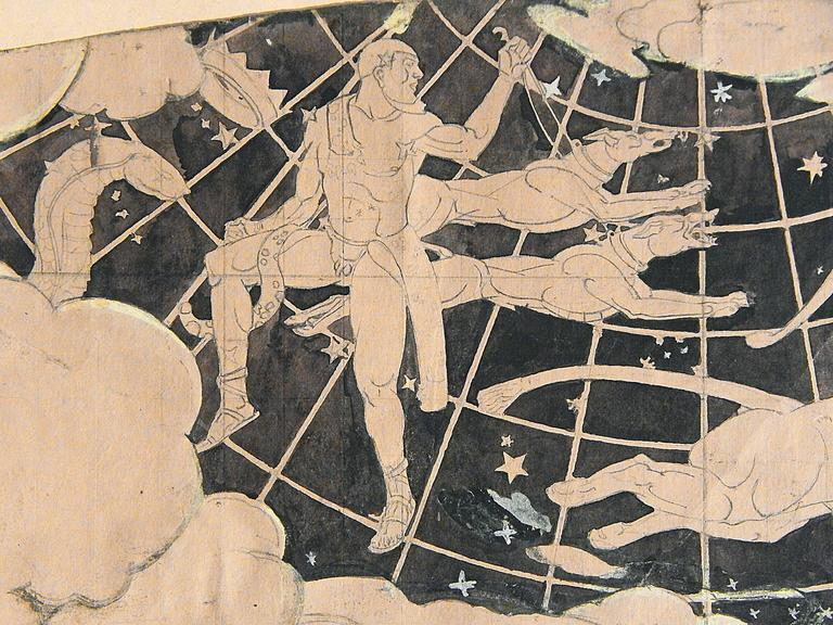 Painted by the renowned muralist, Barry Faulkner, in 1929 for the ceiling of the Horace Bushnell Memorial Hall in Hartford, Connecticut, this remarkable Art Deco study depicts Canes Venatici, or the Herdsman holding two hounds, Asterion and Chara,