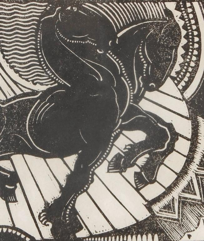 This rare, perhaps unique, woodblock print by Charles Kassler positively radiates Art Deco energy -- both from the sun at the upper left corner, and from the pair of black horses, whose manes are electrically alive, and whose bodies are confidently