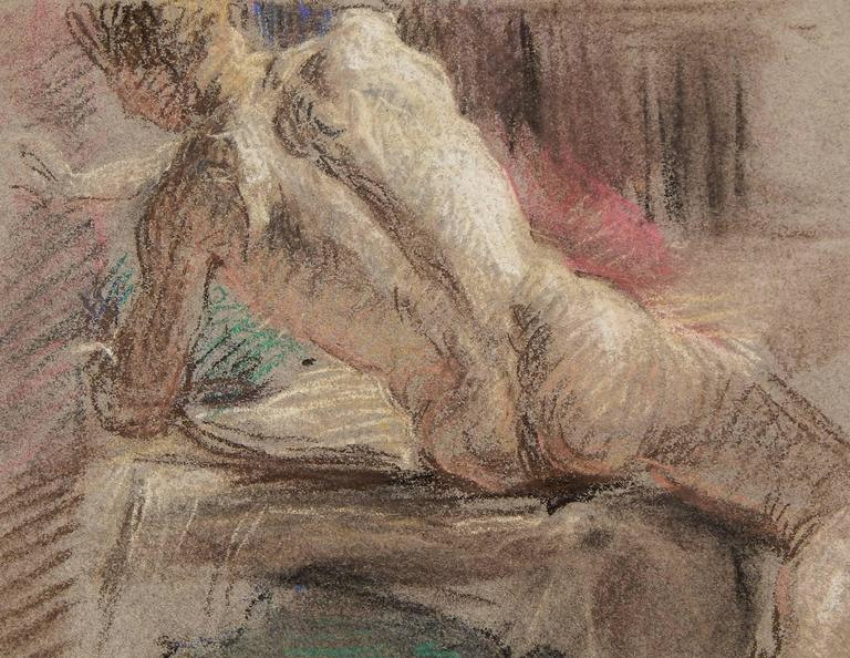 This handsome drawing of a seated male nude, executed in pastel, demonstrates Allyn Cox's superb draftsmanship and mastery of color. Depicting his subject from behind, as he leans to his left, is reminiscent of the work of the great masters from the