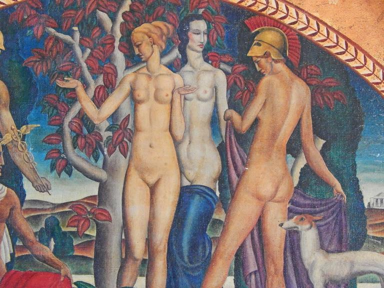 A stunning example of Art Deco painting inspired by classical mythology, this piece depicts Paris, with Mercury by his side and with a golden apple in hand, deciding which of three goddesses, Venus, Minerva and Juno, was the most beautiful. All five