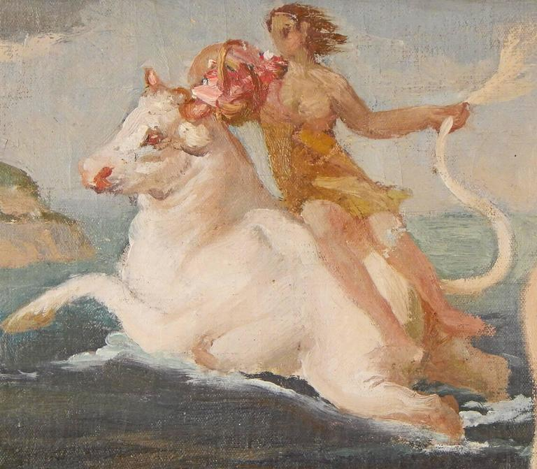 An especially lovely and fresh take on the Classic Europa and the Bull myth that so intrigued artists in the Art Deco era, this impressionistic study by Ezio Giovannozzi was probably painted in preparation for a major mural in Italy. The artist is
