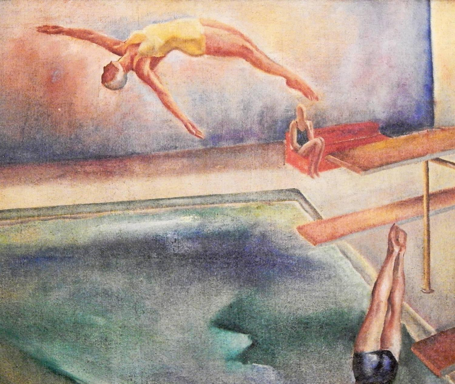 Quot Swimming Pool Quot Masterful Panoramic Art Deco Painting By