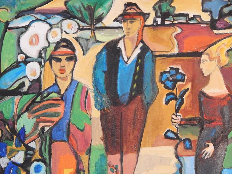 Making brilliant use of a Fauvist palette and a Secessionist vocabulary, this remarkable painting depicts three figures in the Austrian region of the Tyrol, just south of Bavaria. The central figure is garbed in traditional folk costume including