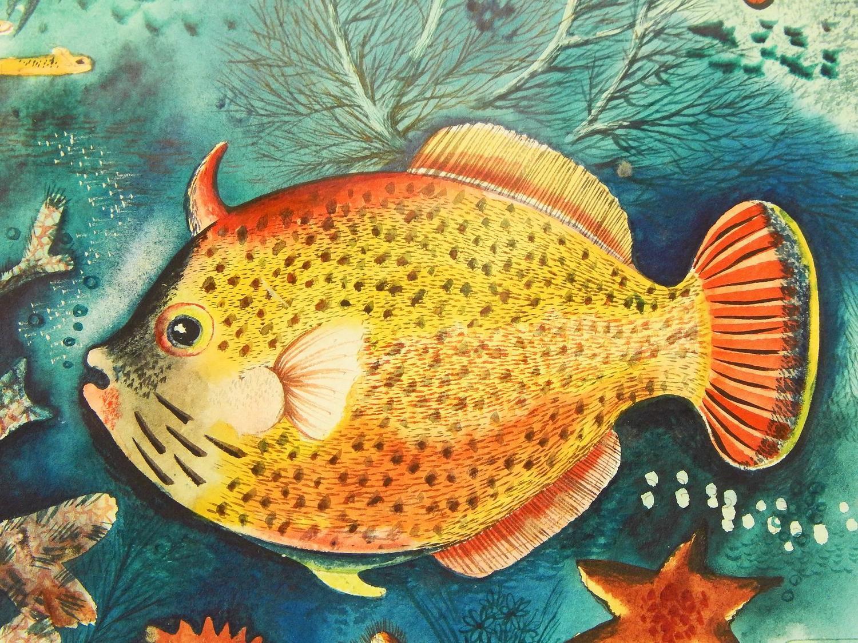 Tropical fish brilliant art deco undersea painting for Tropic fish hawaii