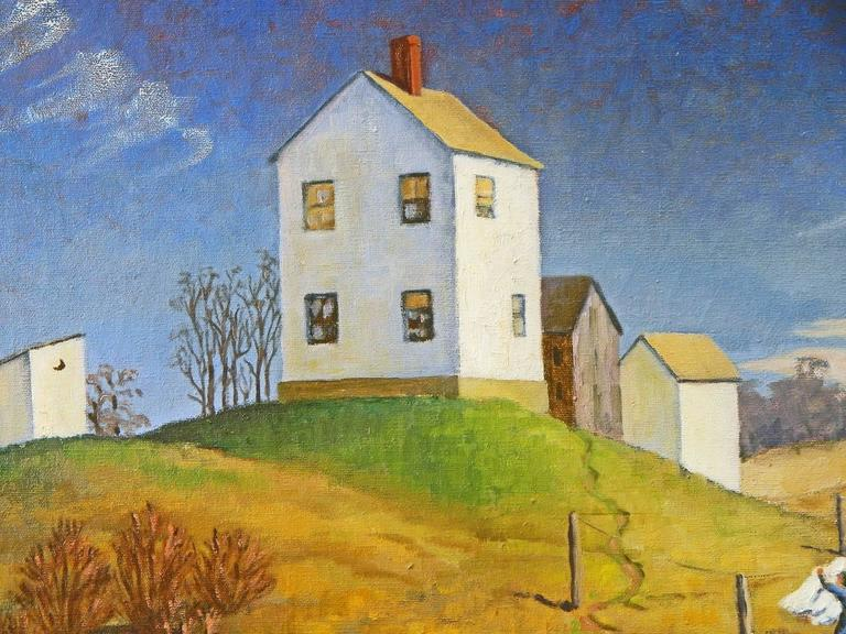 Fresh as a crisp fall day, this painting of a woman taking down laundry at the base of a hill dominated by her home above is a reassuring depiction of wholesome rural life in 1941, perhaps in North Carolina, on the eve of America's entry into the