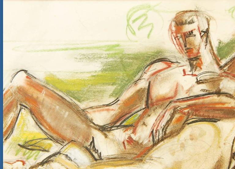 This drawing is a highly important and rare window into a relationship that impacted the larger world of Abstract Expressionism in New York just a few years after it was made in 1949. The artist is William Littlefield, who depicts his model, Fred