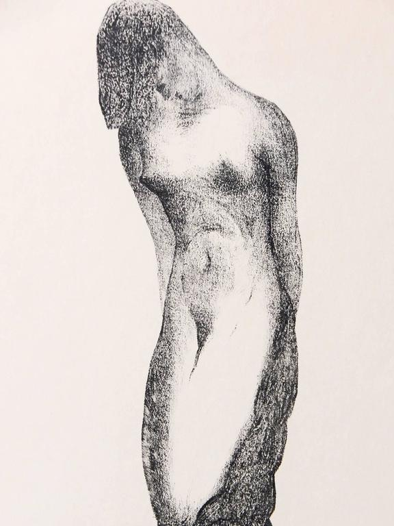 Sensual and sinuous, this very rare print by an American sculptor depicts a nude female figure who is embraced by her nude male lover from below, the male serving as the trunk for the female tree who towers above. The artist, Alexander Portnoff, is