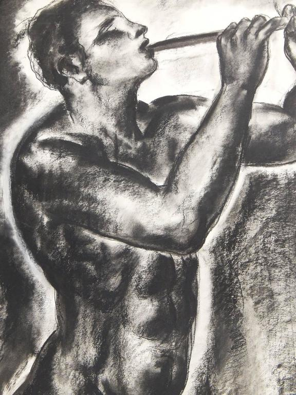 Artists in both America and Europe were fascinated with mythological scenes and ancient tales in the 1920s, 1930s and 1940s, and increasingly gave their gods, goddesses and other figures a powerful physicality and sensuality. This drawing by the