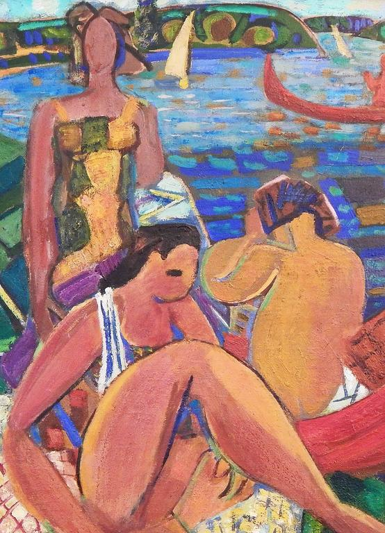 """Mid-Century Modern """"Bathers,"""" Large Masterpiece of Vivid Cubist Painting by Louis Latapie, 1940s For Sale"""