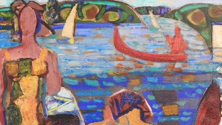 """French """"Bathers,"""" Large Masterpiece of Vivid Cubist Painting by Louis Latapie, 1940s For Sale"""