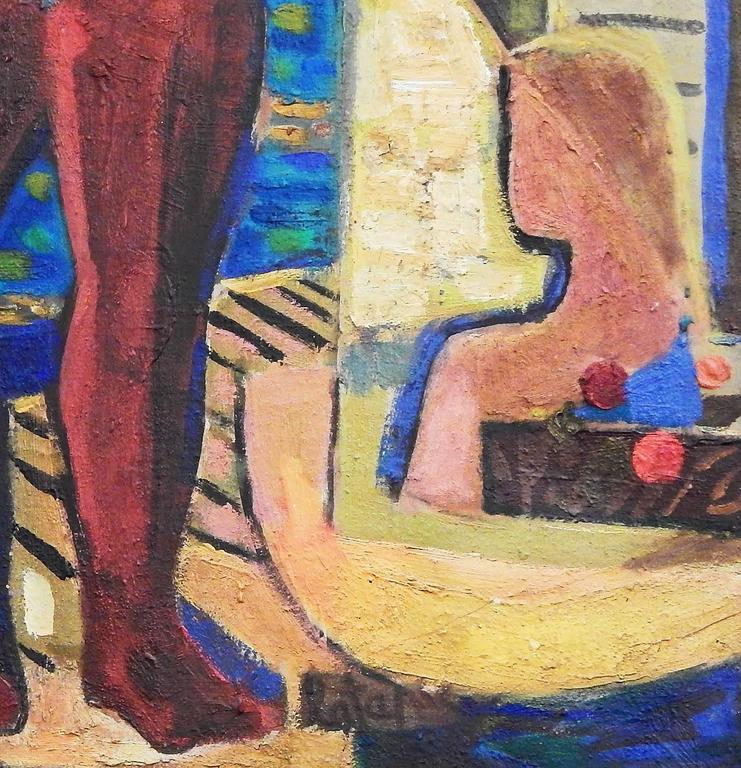 """Painted """"Bathers,"""" Large Masterpiece of Vivid Cubist Painting by Louis Latapie, 1940s For Sale"""