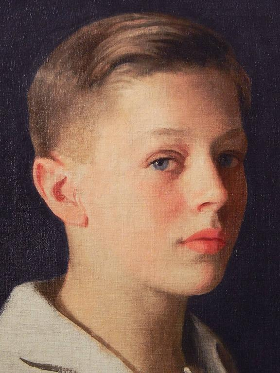 Painted by one of America's great masters of portraiture, this depiction of a male youth is brimming with warmth and life. The boy pictured here, with his dark blond hair, blue eyes, and red lips, virtually leaps from the canvas, and is one of the