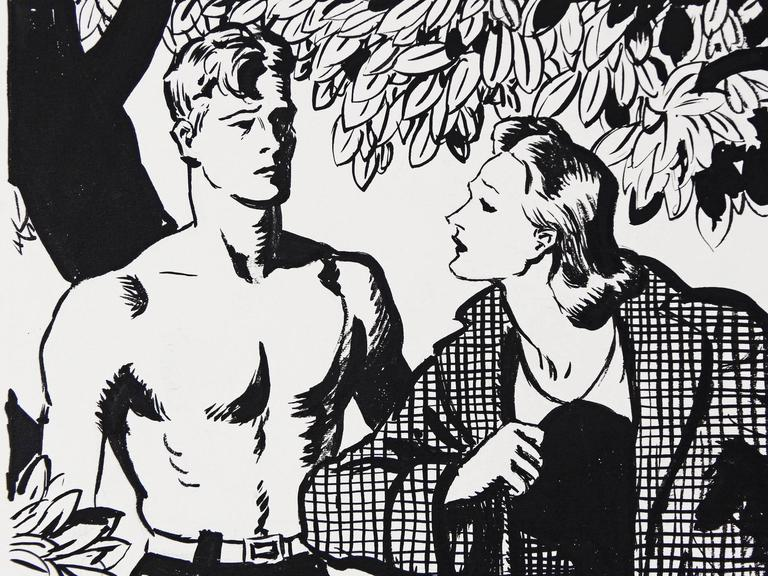 A striking and bold example of illustration art, this scene of a young man in a bathing suit conversing with an elegant woman in her car coat, was drawn by Wilmot Heitland for Liberty magazine. Like a scene out of